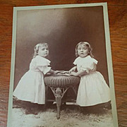 Beautiful Cabinet Card portrait photograph Henry & Alice Smith toddler twins matching white dresses