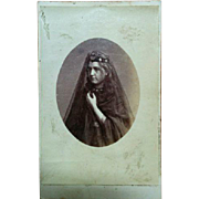 CDV Photograph victorian Diana star headdress tiara ghostly young woman in costume black veiled aged