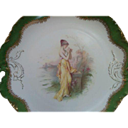 Rosenthal porcelain Versailles plate hand painted Beautiful Grecian lady signed Augustin  early 1900's