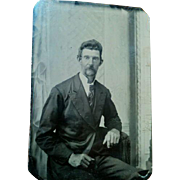 Later 1800s tintype portrait photograph older slim mustached man nice clarity painted scene backdrop