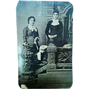 Later 1800s tintype portrait Victorian photograph two young women posed at ornate staircase prop nice