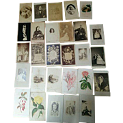 Lot of 28 CDV Victorian Album fillers & photographs lithograph flowers scenes people