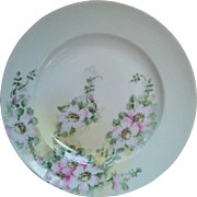 Haviland Limoges hand painted pink roses shallow bowl charger larger size from the earlier 1900's