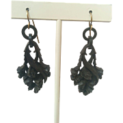 Vulcanite earrings Lily of the Valley Victorian mourning jewelry
