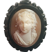 Whitby Jet and beautifully carved raised shell cameo brooch pin Victorian mourning jewelry