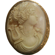 Large cameo pink shell Terpsichore muse with lyre 10K gold setting with engraving