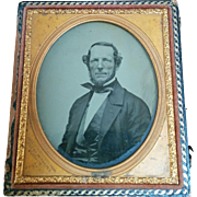 Circa 1850's ambrotype dignified handsome older gentleman wonderful clarity Lawrence of Poughkeepsie