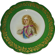 Sevres style porcelain plate circa late 1800's painted &transfer artist signed Duc de Bourgogne