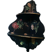 Victorian era folding lacquer-ware double corner shelf black japanned with roses - Red Tag Sale Item