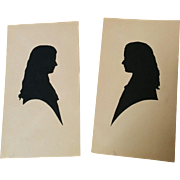 Pair hand cut paper silhouettes late Victorian IDed sisters twins Alma & Mary Hoopes