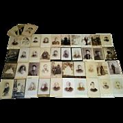Large lot of 46 cabinet card photographs GAR pretty women handsome men & children nice mix