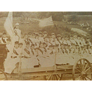 Patriotic cabinet card photograph late 1800s 4th of July battlefield pageant parade girls Post Civil War celebration