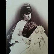 Rare Albert Honiss British photographer in Manila 1870's Occupational CDV nurse nanny with sleeping infant
