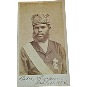 Rare Unusual CDV Baboo Singapore ethnic young man metal embroidery cap Crescent moon 1874