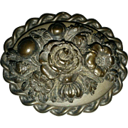 Victorian mourning jewelry Vulcanite brooch oval shape with ornate flower roses decoration