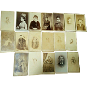 CDV portrait lot Mid later 1800s Illinois Pa Mass Conn men women infants nice mix