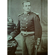 1880s handsome young man dress uniform with helmet ID'ed Jamee Wright Maxfield cabinet photograph