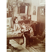 Victorian era Artists studio cabinet photograph painter young man lounging smoking pipe