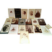 Lot of 19 circa 1800's cabinet photographs General Grand S Wing memorial card interesting mix