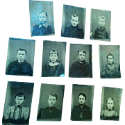 Lot of 11 gem tintypes all young children boys & girls family or classmates dollhouse portraits