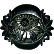Whitby England Jet Victorian mourning brooch mid 1800's daisy flower motif