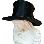 Shabby Victorian era collapsible black opera top hat circa 1900