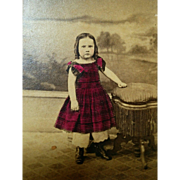 Hand colored CDV photograph young girl wearing bright red plaid check dress 1860's era hand tinted