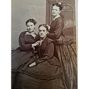 Post Civil War era CDV three fashionable young women in mourning attire dresses