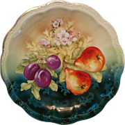 Beautiful early Germany 1900s charger large plate brightly colored fruit & flowers transfer & stencil