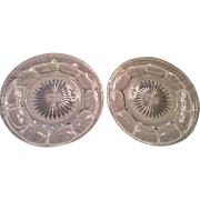 """Pair Colonial pattern plates 7 1/2"""" Heisey H diamond marked depression glass"""