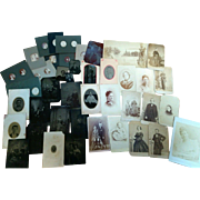 Mixed lot of 42 tintypes CDV's cabinet photographs 1860's thru 1900 good variety