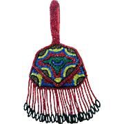 Deco era 1920's petite beaded purse with mirror perfect for lipstick or use with doll