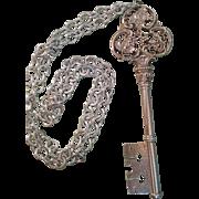 Vintage Gorham silver plate large & ornate decorative ornament grapevine skeleton key on long chain