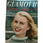 August 1957 Glamour fashion beauty magazine vintage style source great condition!