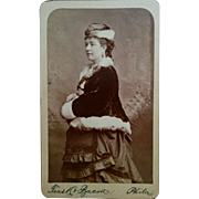 Trask & Bacon CDV portrait of an elegant woman possible maternity fashion dress