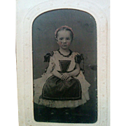 Darling tintype photograph Civil War era sweet young girl wearing pinafore apron