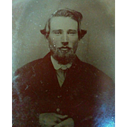 Very handsome young mustached bearded man from the mid 1800's tintype portrait photograph