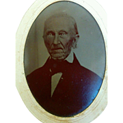 Very old man with unusual eyes Halloween decor tintype photograph post Civil war era