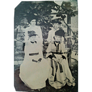 Outdoor tintype circa 1880s 4 women dressed in white posed by grape vine trellis