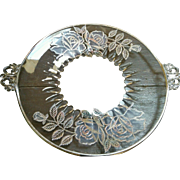 New Martinsville Depression glass serving plate Janice handles sterling overlay roses