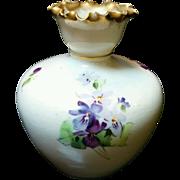 Small Victorian hand painted violets fine porcelain vase brushed gold edge trim