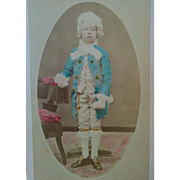 CDV photograph child actor in colonial costume tinted blue coat & powdered wig circa late 1800's