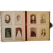 1880's Victorian Velvet photograph album with cabinet cards CDV's & tintypes from Indiana & New York
