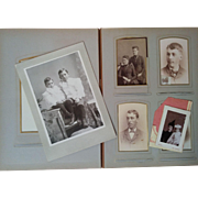 Late 1800's leather bound photograph album with 35 cabinet cards tintypes CDV's Minnesota