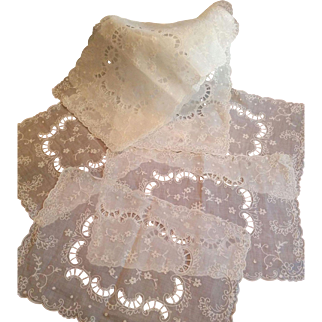 Seven Tambour lace embroidery on white organza vintage placemats flower motif