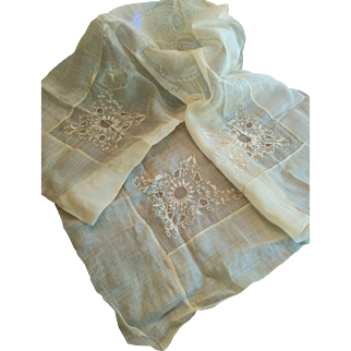 Hand embroidered & drawn-work tablecloth circa early 1900's sheer organza elegance