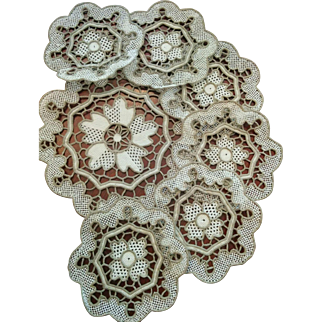 Point de Venise handmade needle lace seven piece set glasses & decanter coasters