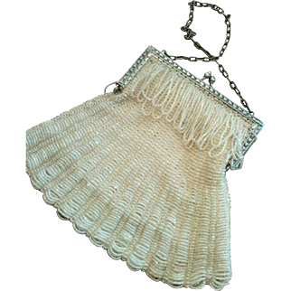 Knitted beaded purse circa 1920's crystal clear beads on white silk lined flower ribbon trimmed