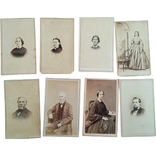 Lot of 8 tax stamp CDV'S Civil War era photographs Kelloggs Ill Foote Michigan