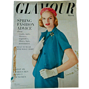 Vintage March 1956 Glamour fashion & beauty magazine makeup clothing hair retro